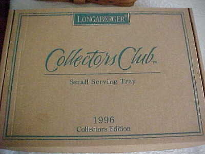 Collector's Club Longaberger 1996 SMALL SERVING TRAY COMBO + BOX