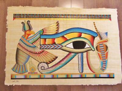 "XXL Signed Handmade Papyrus Egyptian Eye Of Horus (Protection) Painting..38""x26"""