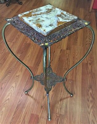 Antique Victorian Brass Marble Top Fern Plant Display Stand Side Table Ornate