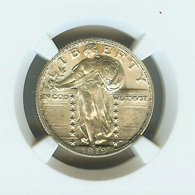 1919 Standing Liberty Silver 25 Cents  Ngc Ms64 Full Head Rare This Nice!