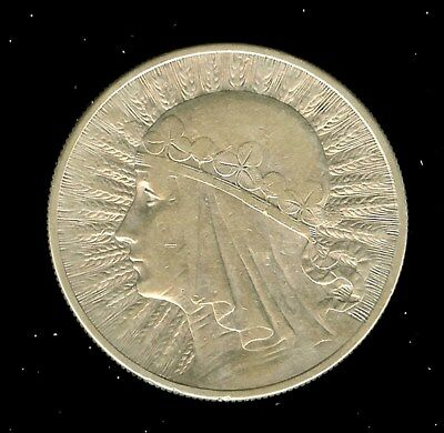 Poland 1932 Silver 10 Zlotych  Choice Almost Uncirculated  Y#22