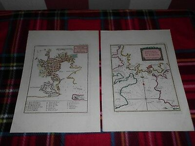 ANTIQUE PAIR FRENCH MAPS 1764 showing PLYMOUTH (DEVON) PORT BAY CITADEL etc...