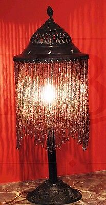 Vintage Syrian Middle eastern Arabian Beaded Brass Table Lamp.