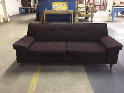 Vintage Mid Century Sofa Couch Brown Polyester Retro Can freight