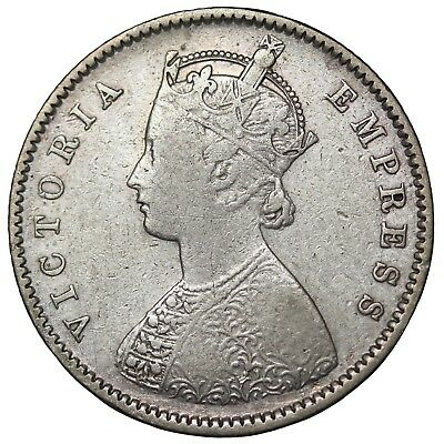 British India 1897-B Queen Victoria Silver 1/2 Half Rupee KM#491