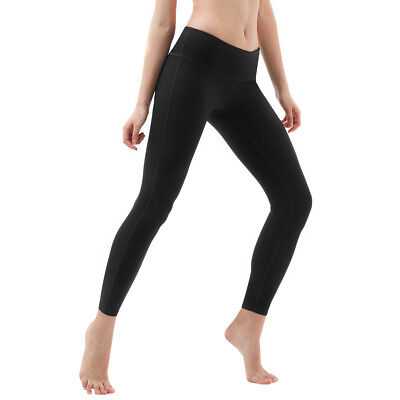 Tesla FYP41 Women's Mid-Waist Ultra-Stretch Yoga Pants - Solid Black