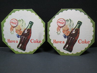 TWO (2) SPRITE BOY Have a Coke WITH BOTTLE 3 1/2 INCH CARDBOARD COASTERS