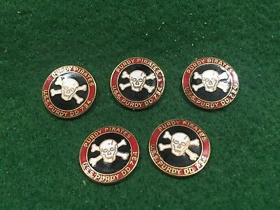 Lot of 5 1970's Vintage US Navy USS Purdy DD-734 Metal Emblems