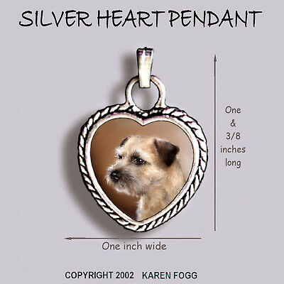 BORDER TERRIER DOG - Ornate HEART PENDANT Tibetan Silver