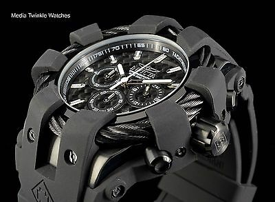 Invicta 50mm Bolt Sport Chronograph Black Carbon Fiber Dial Silicone Strap Watch
