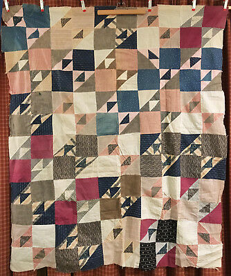 Antique Cotton Birds in the Air Quilt Top c1890 64x52 Indigos Mourning Prints