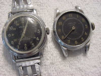Lot of 2 Vintage antique WWII WORLD WAR II MILITARY mens watch watches NR