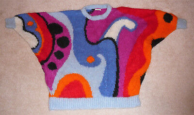 Handmade mohair sweater, very dramatic geometric design, one size, made by KOPO