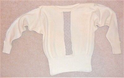 Lamb's wool and angora off-white sweater, by Michael Carrie, made in Hong Kong
