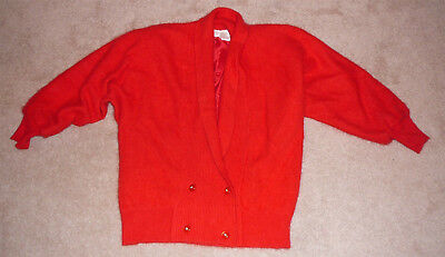 Angora lamb's wool sweater jacket, striking red, lined, four button waist