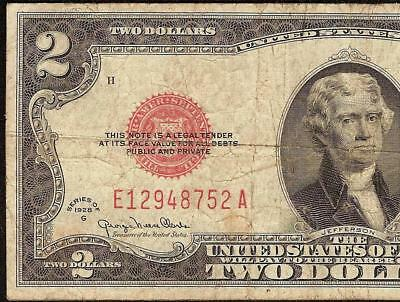 1928 G $2 Two Dollar Bill United States Legal Tender Red Seal Note Paper Money