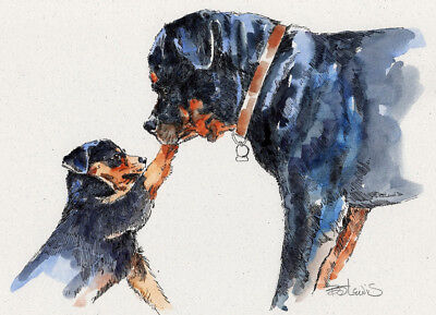 ROTTWEILER LOVE Original Watercolor on Ink Print Matted 11x14 Ready to Frame