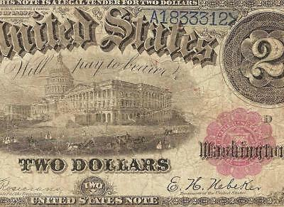 Large 1880 $2 Two Dollar Blue Number United States Legal Tender Note Paper Money