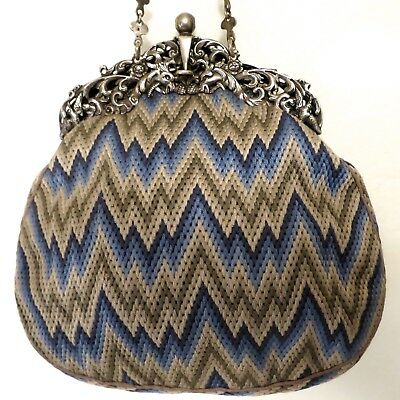 Vintage Antique Purse Sterling Silver Needlwork Embroidery Bargello Flame Stitch