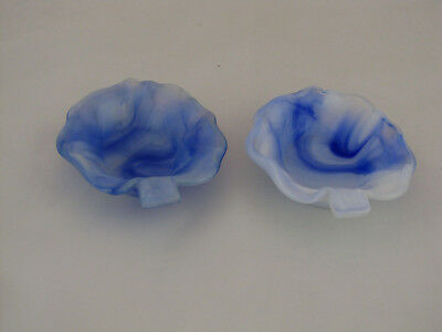"2 Akro Agate Leaf Ashtrays in Blue, #245, 4 1/8"" long"