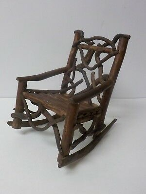 """Vintage Hand Crafted 9.25"""" Doll's Country / Primitive TWIG Rocking Chair (#4)"""