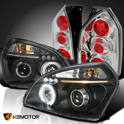 Fit Hyundai 05-09 Tucson Black LED Halo Projector Headlights+Clear Tail Lamps