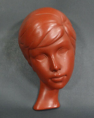 1940s Austrian Gmundner Keramik Terracotta Ceramic Pottery Woman Face Wall Mask