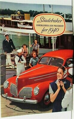 1940 Studebaker Commander & President Sedan Color Sales Brochure Original