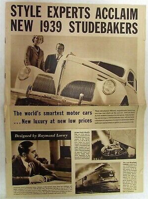 1939 Studebaker DeLuxe Models Sales Brochure Folder Original