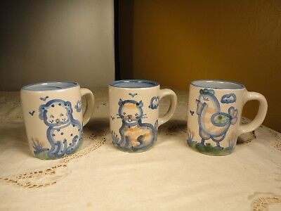 M A Hadley (3) 4 Inch Mugs DOG, CAT and ROOSTER Stoneware Louisville, KY