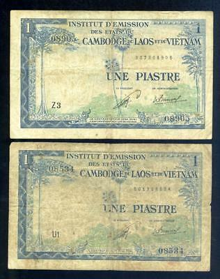 2 x 1954 French Indo China One Piastre Banknotes