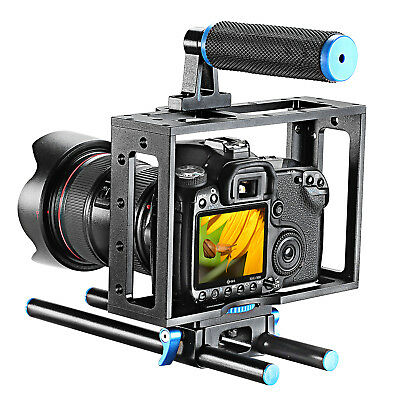 Neewer Aluminum DSLR Camera Cage Kit with 15mm Rod Rig for Canon Nikon Sony