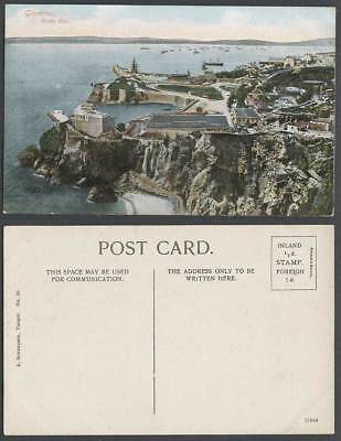 Gibraltar Old Colour Postcard ROSIA BAY Pier Jetty Harbour Street Boats Panorama