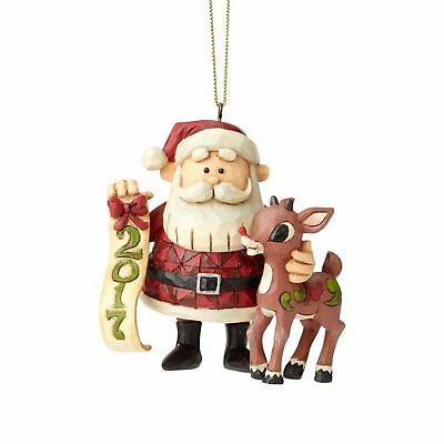 Jim Shore Rudolph The Red Nosed Reindeer RUDOLPH & SANTA DATED 2017 ORN. 4058348