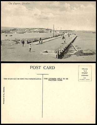 Gibraltar, The Lagoon, Old Postcard Bridge Street Scene Harbour Seaside Panorama