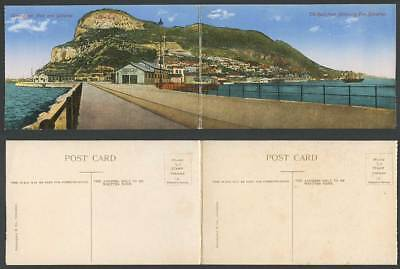 Gibraltar 2 Old Attached Postcards Panorama The Rock Admiralty Pier Commer. Mole