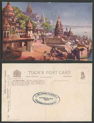 India Old Tuck's Oilette Postcard The Burning Ghat Benares, River Bridge Temples