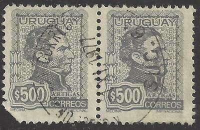 1972 Uruguay pair of 500p Grey General ARTIGAS stamps used