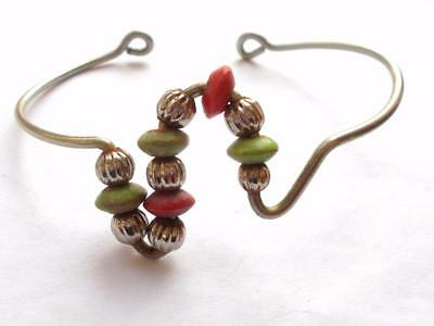 Vintage 70's Artisan Crafted Modernist Wire Work Green Red Bead Bangle Bracelet