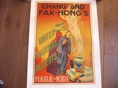 AFFICHE LITHOGRAPHIE MAGIE 1930 ORIGINALE ENTOILEE CHANG AND FAK HONG'S prestidi