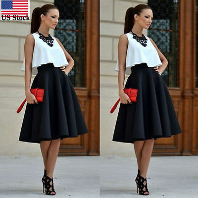Woman High Waist Stretch Full Circle Pleated A-Line Long Skirt Casual Dress US