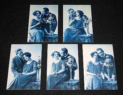 5 Cpa 23 Couple Amoureux Art Deco Glamour Miss Pin-Up Flirt Charme Romance