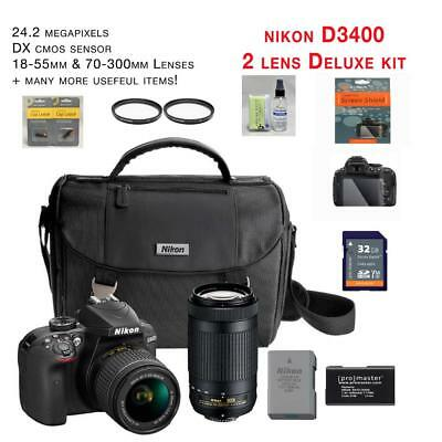 NEW Nikon D3400 Kit w/AF-P 18-55mm VR & AF-P 70-300mm zoom lenses + MUCH MORE!