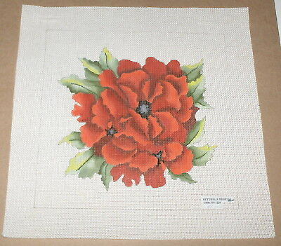 "Bettieray ""Poppies"" Red Flowers Handpainted Needlepoint Canvas"