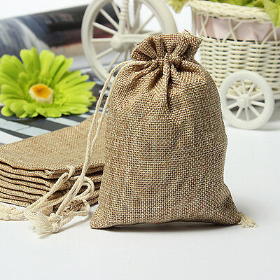 Natural Burlap Linen Jute Vintage Wedding Drawstring Gift Favor Sack Bags SK