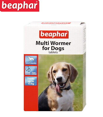 Beaphar Multi Wormer Tablets For Dogs 12 Tablets Tape & Round Worms Worming