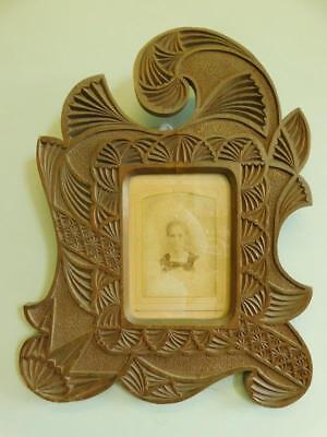 Beautiful Art Nouveau era Wooden Chip Carved Picture Photo Frame c1910
