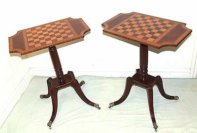 PAIR Antique Style Mahogany Satinwood Wine Tables Lamp Stands : Chequerboard Top