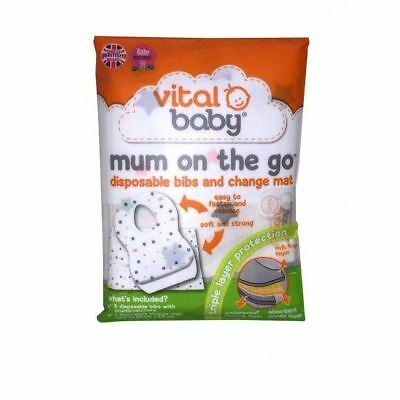 Vital Baby MUM ON THE GO DISPOSABLE BIBS & CHANGE MAT WALLET Baby Changing BN