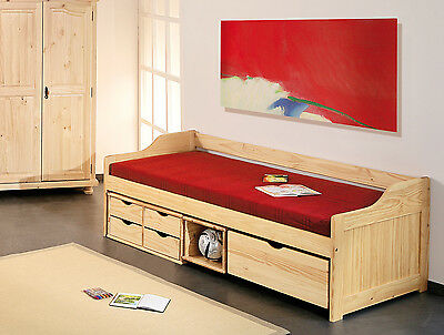 bettgestell jugendbett mit stauraum 90 x 200 cm kiefer massiv neu ovp eur 199 00. Black Bedroom Furniture Sets. Home Design Ideas